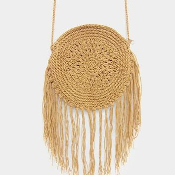 Natural Fringe Round Crochet Handbag