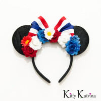 Patriotic Mouse Ears Headband, LED Headband, Minnie Mouse Ears, USA Mickey, Disney Ears, Independence Day Headband, Memorial Day Headband