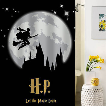 Harry Potter  silhouette shower curtain custom shower curtains that will make your bathroom adorable
