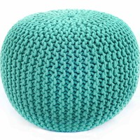 nuLOOM Cable Knit Turquoise Pouf