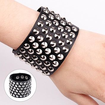 Rock Style Six Row Cuspidal Spikes Rivet Stud Wide Cuff PU Leather Punk Gothic  Bangle Bracelet for Women Men Unisex @ T