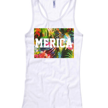 MERICA Tropical Print Racerback Tank top