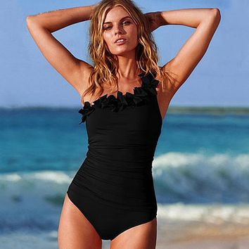 One Piece Swimsuit Female 2018 Sexy Lace Black Swimwear Women One Shoulder Bathing Suit Women Body Suit Swim Beach Wear Monokini