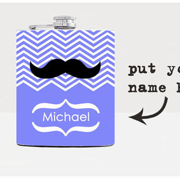 Personalized Flask Groomsmen gift Best men gift Wedding Party Gift Whiskey Flask Hip flask Men Flask  Alcohol Whiskey Mustache