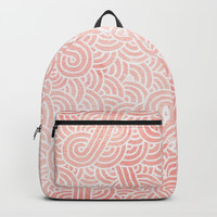 Rose quartz and white swirls doodles Backpacks by Savousepate