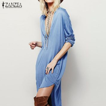 Oversized 2017 ZANZEA Women Casual Loose Dress Elegant Ladies Sexy V Neck Long Sleeve Asymmetric Mini Dress Plus Size Vestidos
