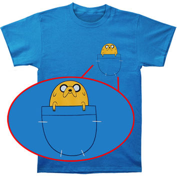 Adventure Time Men's  Jake In Pocket T-shirt Blue Rockabilia