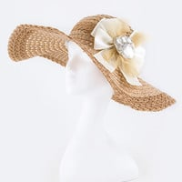 CRYSTAL BOW 2 TONE STRAW HAT