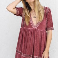 I Gotta Feeling Burgundy Lace Trim Dress