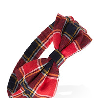 FOREVER 21 Tartan Plaid Bow Headband Red/Navy One
