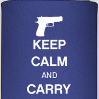 KEEP CALM and Carry One can coozies, gun clubs, gun safety, i own a gun, your rights, gun support, can coozies, personalized coozies, guys