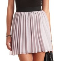 Accordion-Pleated Chiffon Skater Skirt by Charlotte Russe - Blush
