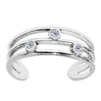 Sterling Silver Rhodium Plated Open Triple Row With CZ Cuff Style Adjustable Toe Ring
