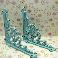 Wall Bracket Cast Iron Shelf Ornate FDL Brace Cottage Chic Beach Blue Decorative Distressed Shabby Brackets 1 Pair (2 individual brackets)