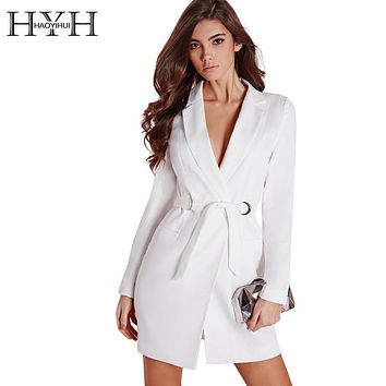 HYH HAOYIHUI Women Dress Vestidos Solid White High Waist Casual Slim OL Dresses Sexy Plunge Neck Elegant Blazer Mini Dress
