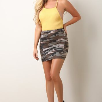 High Rise Camouflage Mini Skirts