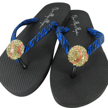 Softball  Zebra Electric Blue Rhinestone Flip Flop Sandals