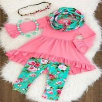 Girls Pink Floral 3 Piece Outfit