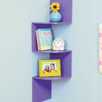 Zig Zag DESIGN WOOD CORNER WALL SHELF Zebra / Black / Purple HOME DECOR BEDROOM