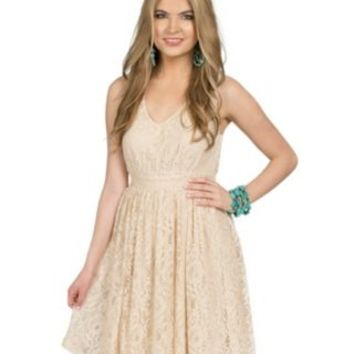 Wrangler Women's Ivory Lace Sleeveless V-neck Dress