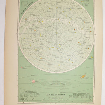 Antique Star Map, Vintage Space Print 1898 Old Celestial Print, Zodiac Art, Solar System Print, Constellations Astronomy, Geekery Space Gift