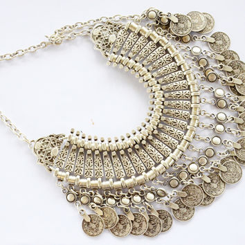 'ZAHARA' ➳ TURKISH SILVER COIN COLLAR NECKLACE