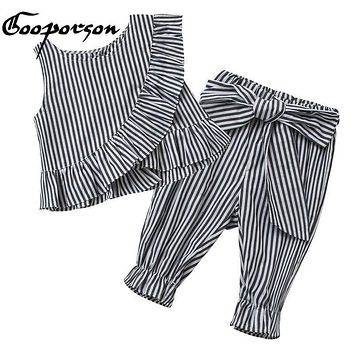 Girls Clothes Toddler Girls Clothing Sets Striped Baby Girls Kids Clothes Children Clothing T Shirt+Pants With Bow Vestidos