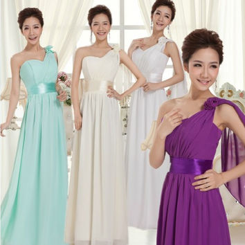 light blue bridesmaid yellow long formal brides maid dresses 2017 one shoulder greek goddess dress free shipping B377