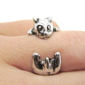 Baby Hamster Guinea Pig Gerbil Shaped Animal Wrap Ring in Shiny Silver | US Sizes 3 to 6.5