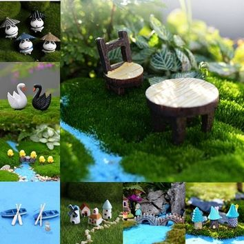 DIY Fairy Garden Resin Miniature Decoration Accessory (table/mail box/rabbits/stars/bridge/snails/panda/chicken/boat/deer/house/