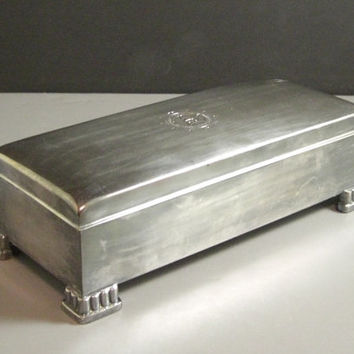 Large Footed Hinged Silverplate Cigarette Desk Valet Box // 1962 // from Successionary