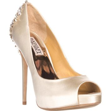 Badgley Mischka Kiara Jeweled Heel Platform Peep Toe Pumps, Ivory, 6 US