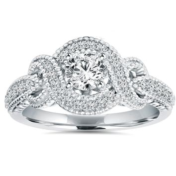 1/2 Carat Vintage Infinity Halo Diamond Engagement Ring