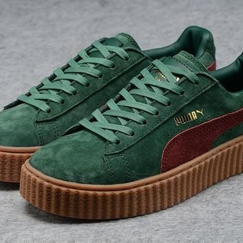 Fenty Rihanna by Puma Suede Creepers Green Burgundy Shoes For Mens Womens
