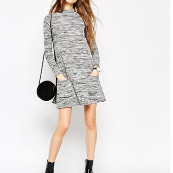 Gray Long Sleeve Knit Sweater Dress