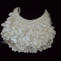 La Regale / White Purse / Vintage / Beaded Evening Handbag w/ Paillette Sequins