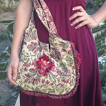 Hippie Bag, Women's Bag, Kilim Design Fabric Bag, Huge Sequin Flower Embellish, Crossbody Bag, Tote Bag, Boho Bag, Hobo Bag, Messenger Bag