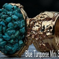 KNUCKLE ART STATEMENT RING TURQUOISE MINI STONES WOMEN JEWELRY BLUE GOLD ARTY 7