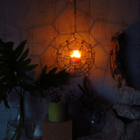 Hanging Candle Lantern Wire Fire Sphere