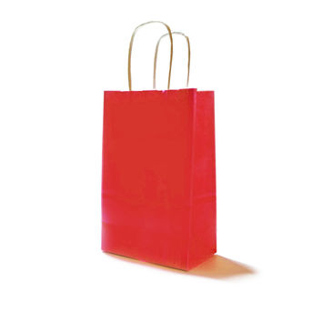 Red Paper Party Bags with Handles and Damask Gift Tags