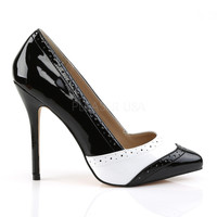Pleaser USA Amuse Black and White Wingtip Pumps