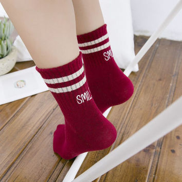 Smile Cotton Winter Warm Cozy Comfortable Socks