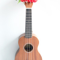 ukulele item  / Ribbon lei for ukulele / pink orange plumeria / ukulele gift /  ukulele accessories /