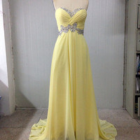 2014 New Style Sweetheart Sheath Floor Length Rhinestone Daffodils Zipper Prom Dress/Party Dress/Evening Dress /Homecoming Dress/Ball Gown