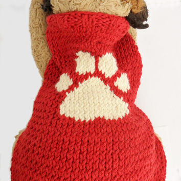 Red dog sweater, small dog, paw print