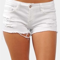 Grunge Girl Denim Shorts - White