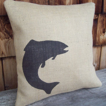 Burlap Fish Pillow Cover by North Country Comforts / Cabin and Lodge Decorative Pillow Cover 16 x 16 / Rustic Pillow Cover