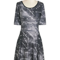 ModCloth Scholastic Mid-length Short Sleeves A-line Formula for Success Dress