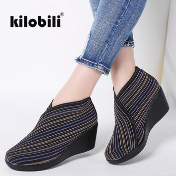 2018 Spring Women Flat Platform shoes slip on Striped Stretch Fabric Casual Shoes ladies Creepers Wedge Shoes Women Flats Summer