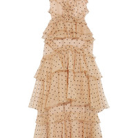 alice McCALL - Yoko ruffled tiered Swiss-dot silk-organza gown